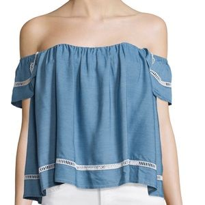 Lovers + Friends Tops - Lovers + Friends Life's a Beach Denim Top- ChicEwe